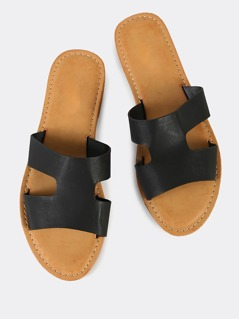 Cut Out Open Toe Slipper Sandals BLACK