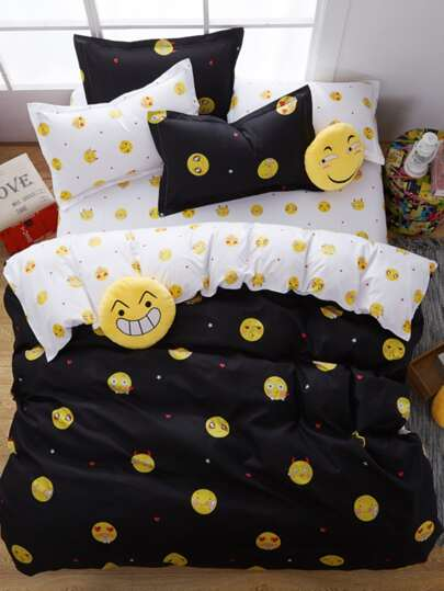 1.5m 4Pcs Emoji Print Duvet Cover Set