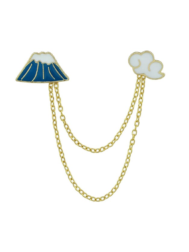 Enamel Cloud Mountain Brooches With Gold-Color Chain