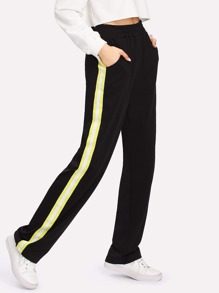Contrast Striped Pate Side Pants