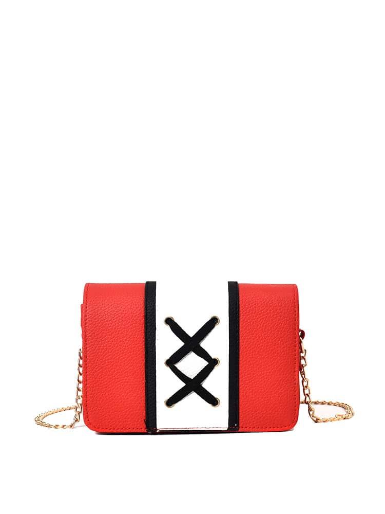 Criss Cross Strap Detail Color Block Chain Bag 120cm 47 bronze twist o ring bag chain diy metal purse strap 20pcs freeshipping