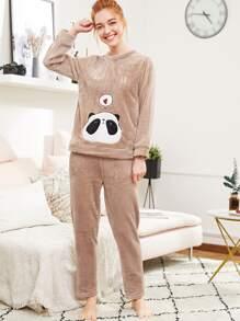 Panda Embroidered Plush Pullover & Pants Pj Set