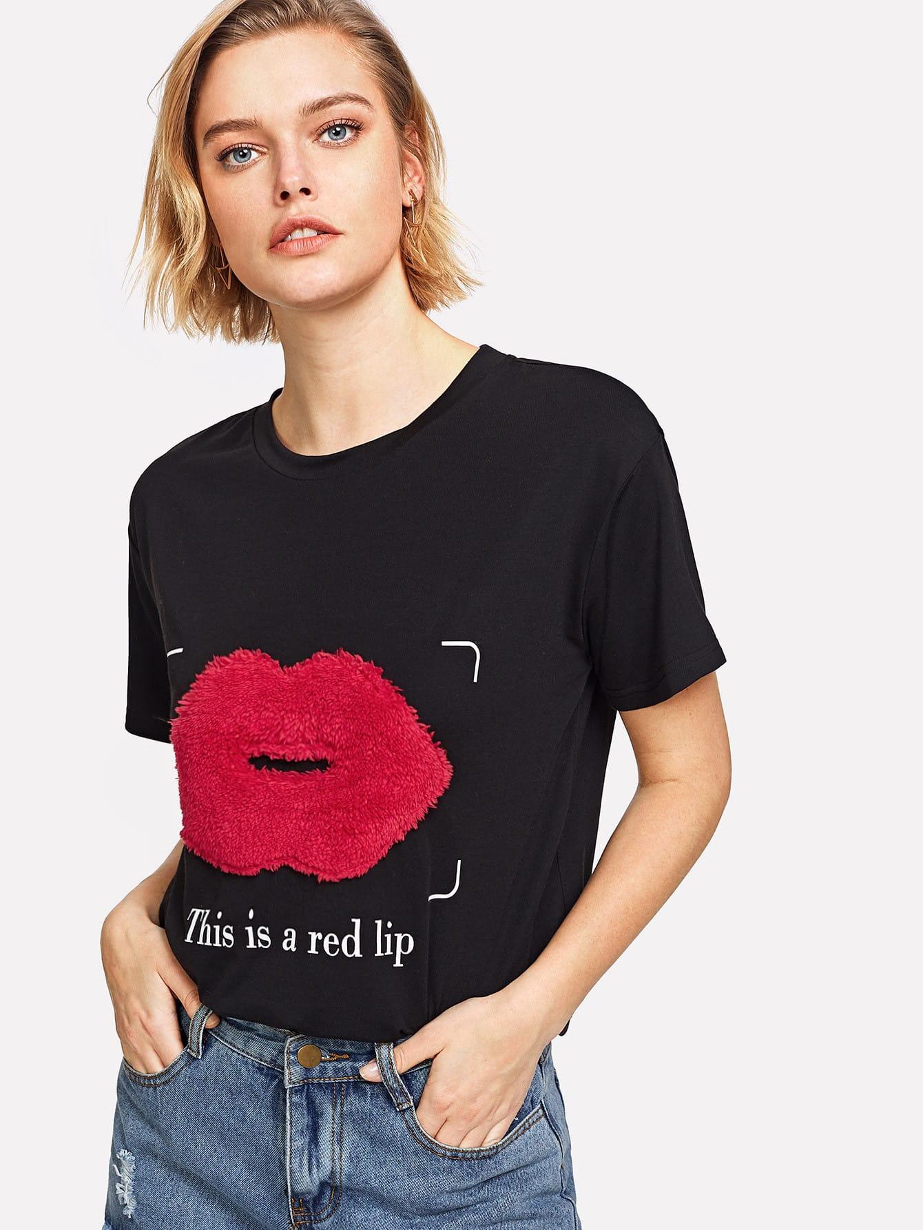 Купить Модная футболка с аппликацией, Michelle, SheIn