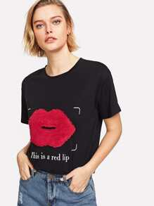 Fleece Red Lip Applique T-shirt