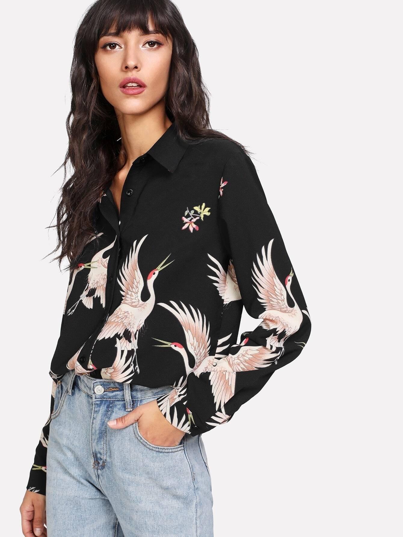 Модная блуза на кнопках с принтом, Camila, SheIn  - купить со скидкой