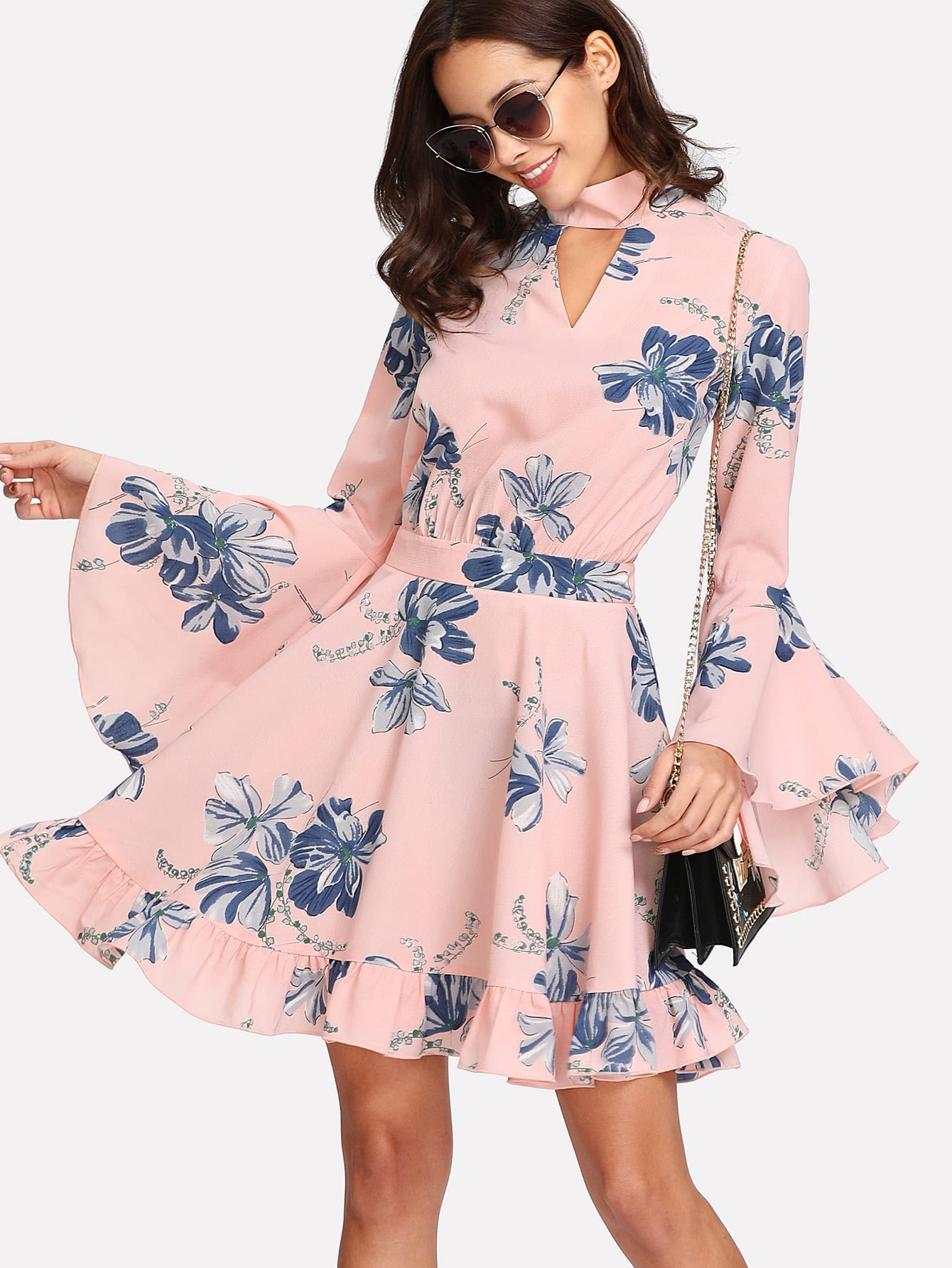 Choker Collar Flounce Sleeve Dress tie sleeve choker dress