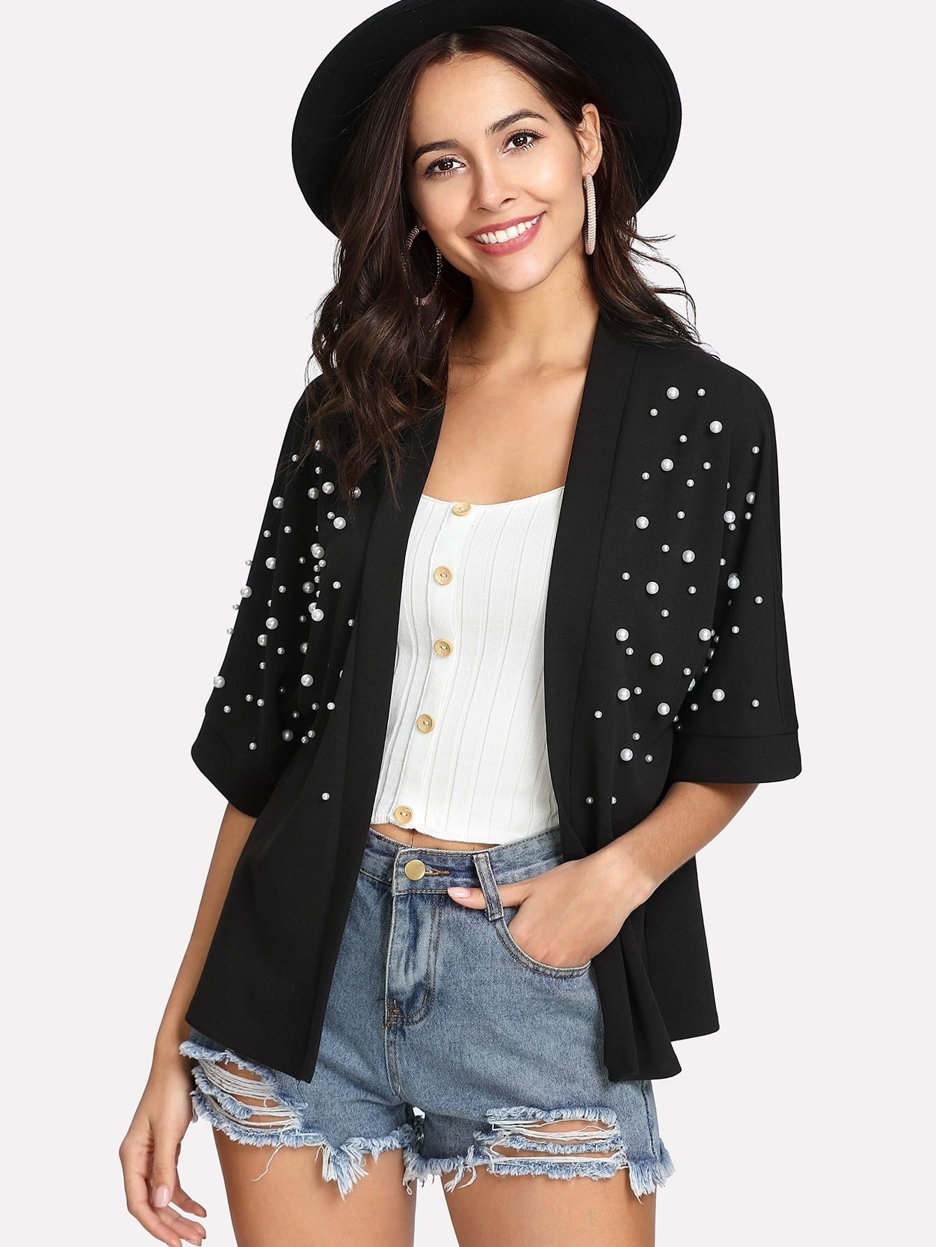 Pearl Detail Kimono pearl and layered lace detail pullover