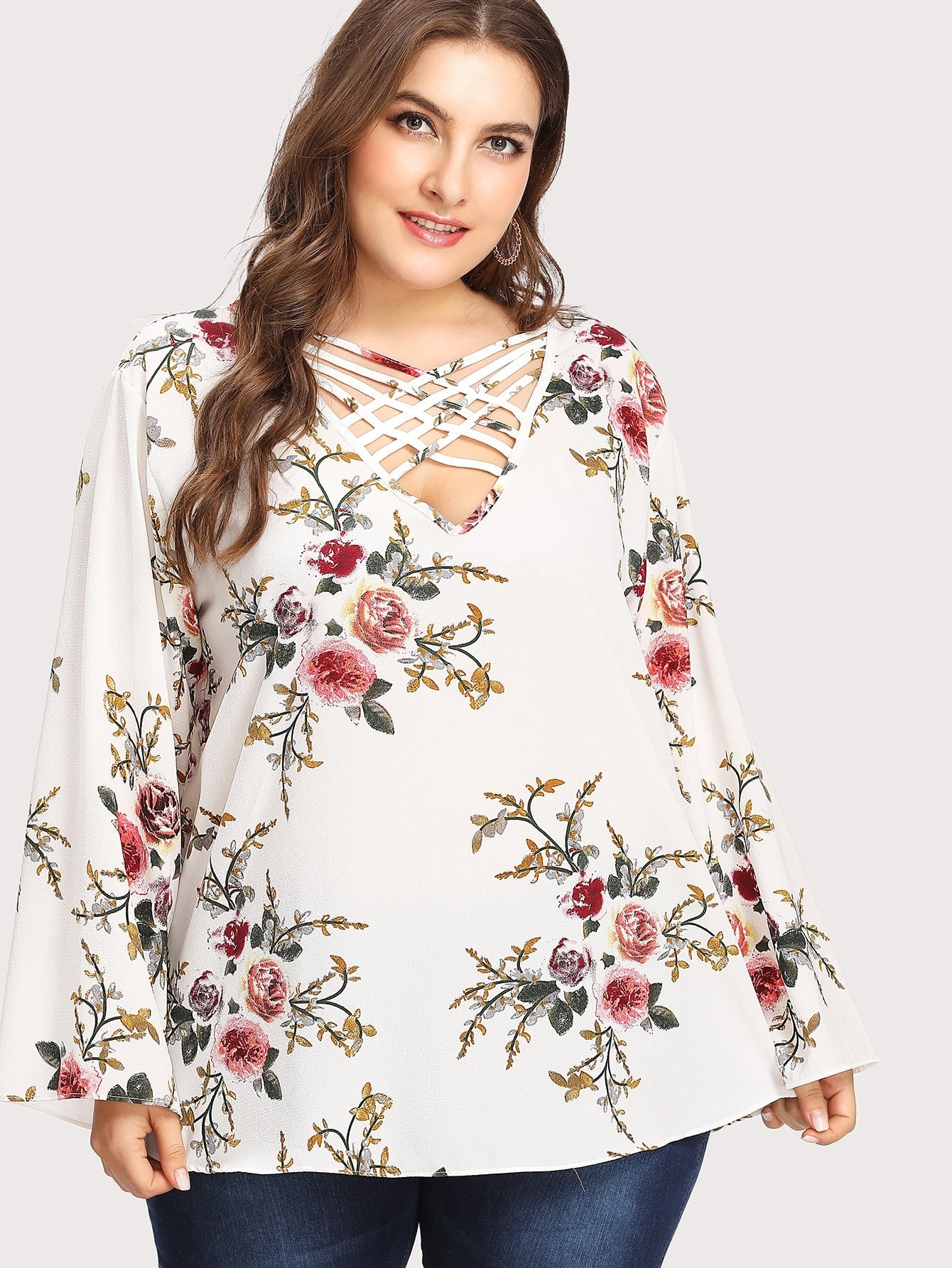 Image of Botanical Print Criss Cross Front Blouse