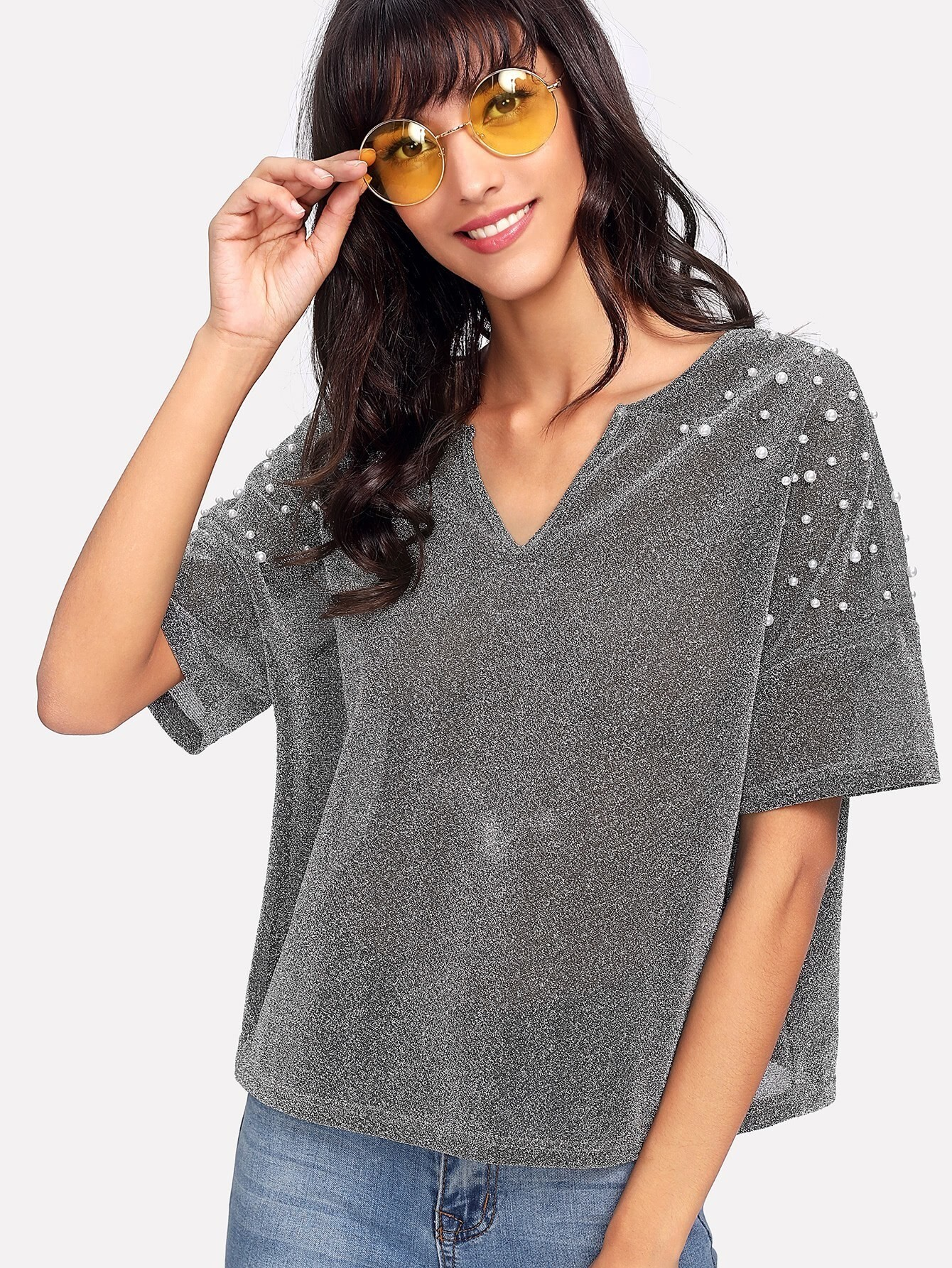 V Cut Neck Pearl Beading Sparkle Tee laddering cut v neck solid tee