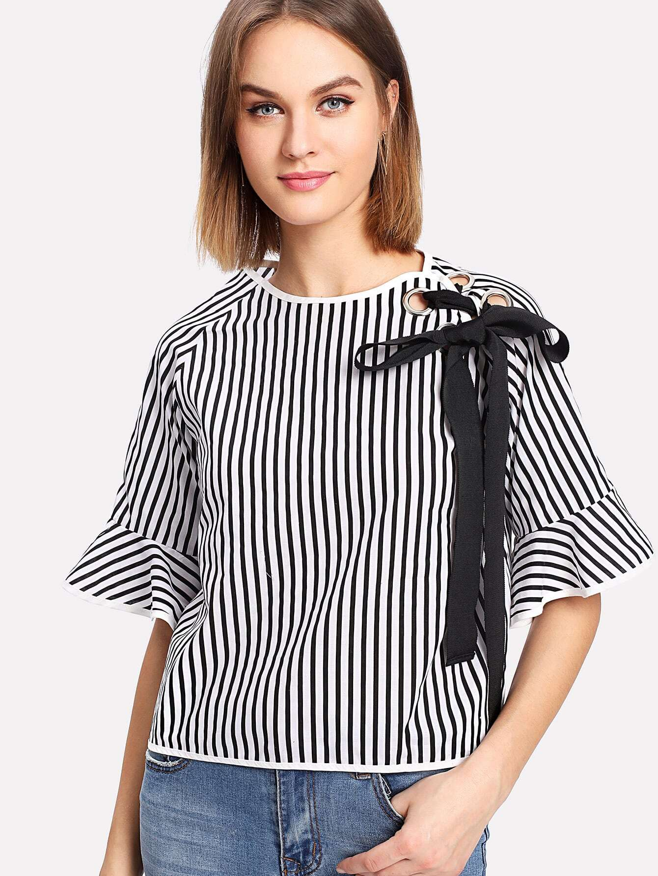 Tape Tie Grommet Detail Striped Blouse drop shoulder grommet tie detail sweatshirt