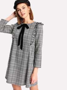Tie Neck Ruffle Trim Plaid Dress