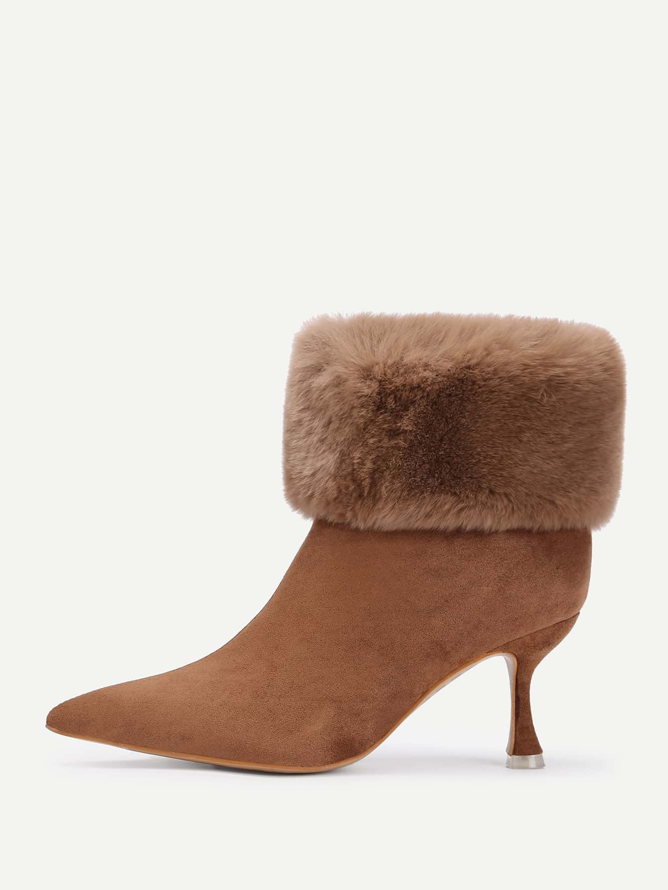 Buy Pointed Toe Faux Fur Design Ankle Boots