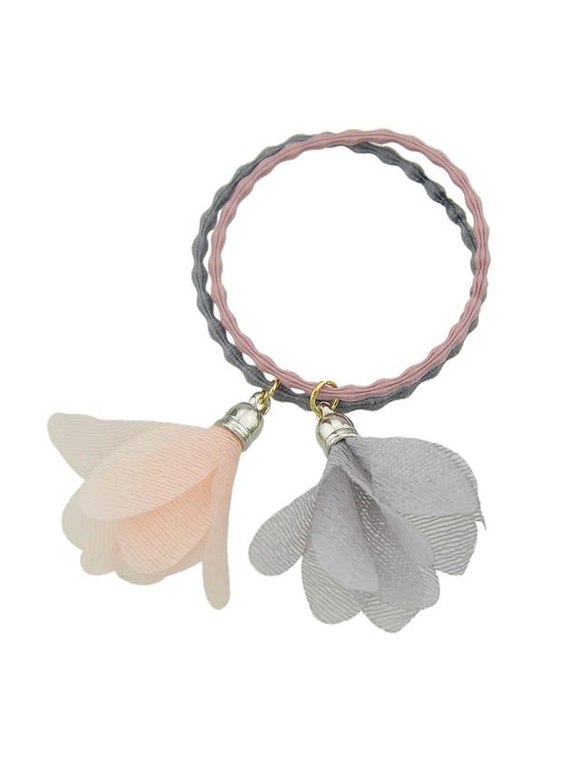 Pink-Gray Elastic Colorful Yarn Flower Charm Headbands Headwear Hair Accessories