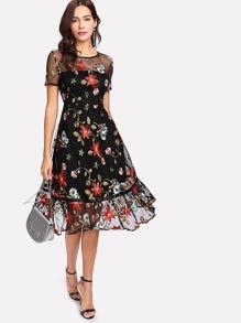 Botanical Embroidery Mesh Overlay Ruffle Hem Dress