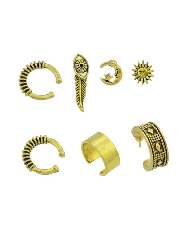 At-Gold 7 Stück / Set Boho Kreis Ohr Manschette Clip Knorpel Ohrringe