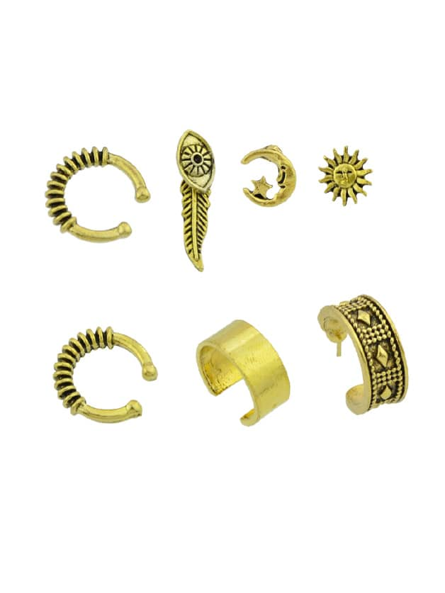 Image of At-Gold 7 Pcs/Set Boho Circle Ear Cuff Clip Cartilage Earrings
