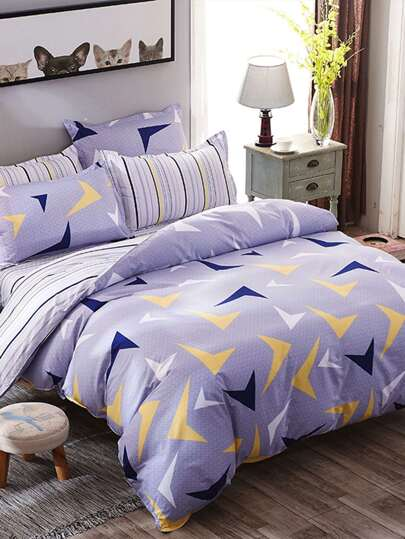2.0m 4Pcs Geometric Print Striped Bedding Set