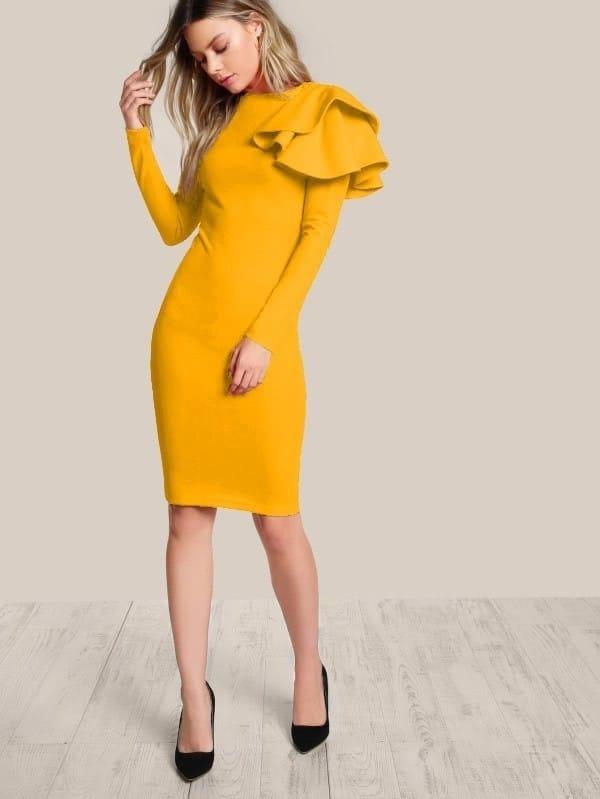 One Side Tiered Ruffle Trim Dress one side ruffle trim solid dress