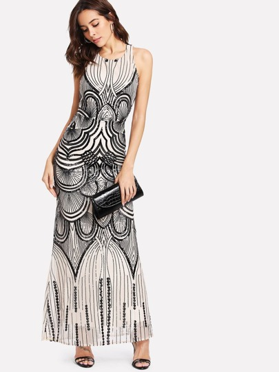 Backless Sequin Contrast Mesh Dress
