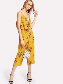 Floral Tiered Hem Cami Top & Pants Set