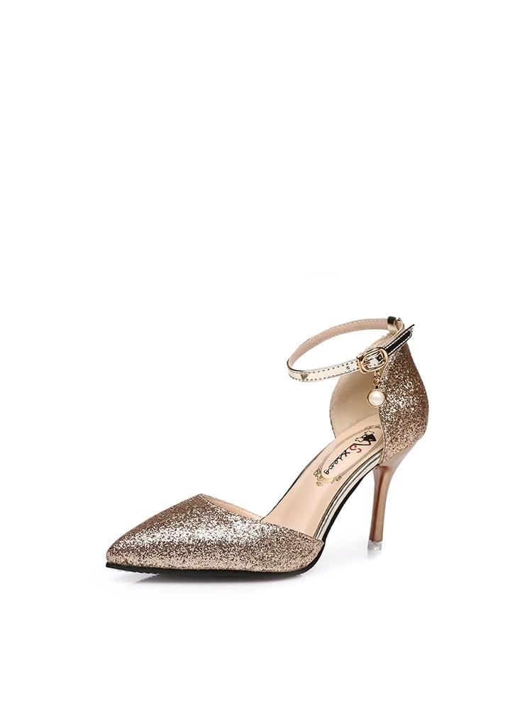 Pointed Toe Glitter Heels creativesugar elegant 3d glitter pointed