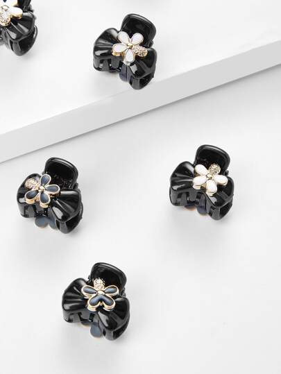 Flower Decorated Hair Clip 6pcs