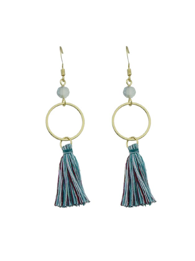 G-Green Round Circle Shape With Colorful Long Tassel Drop Earrings