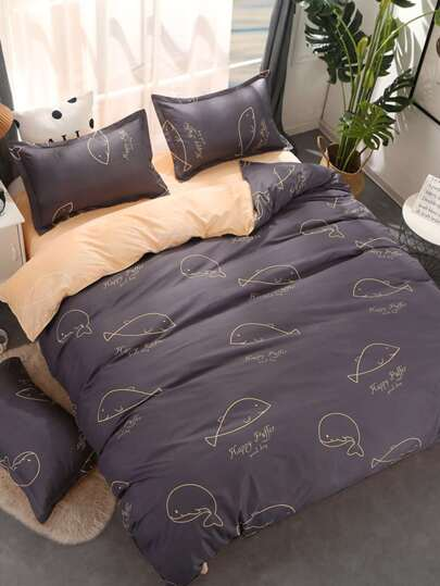 2.2m 4Pcs Dolphin Print Bed Sheet Set