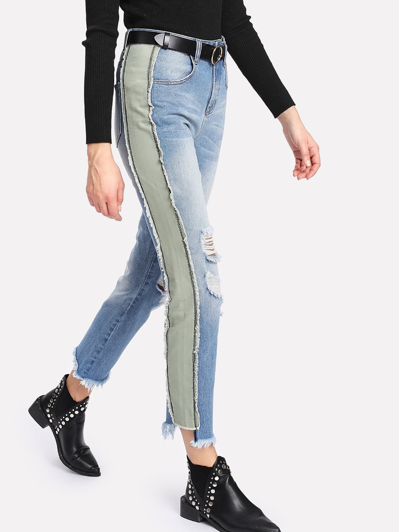 Contrast Panel Side Distressed Jeans