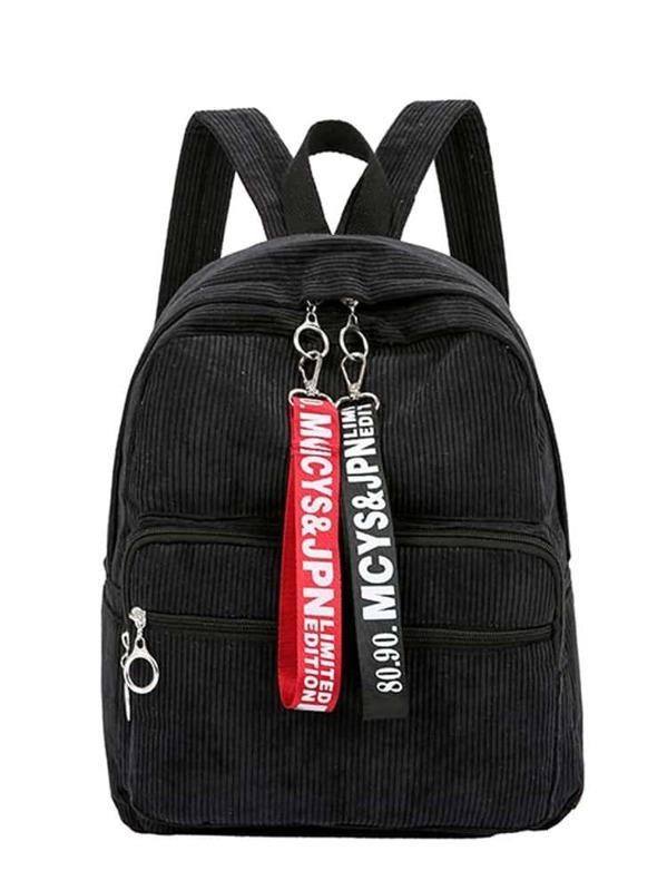 Slogan Ribbon Corduroy Backpack, null