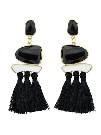 Black Bohemian Style Ethnic Statement Big Tassel Drop Earrings