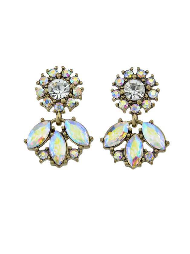 Rhinestone Water Drop Pattern Dangle Earrings silver plated bar dangle drop earrings