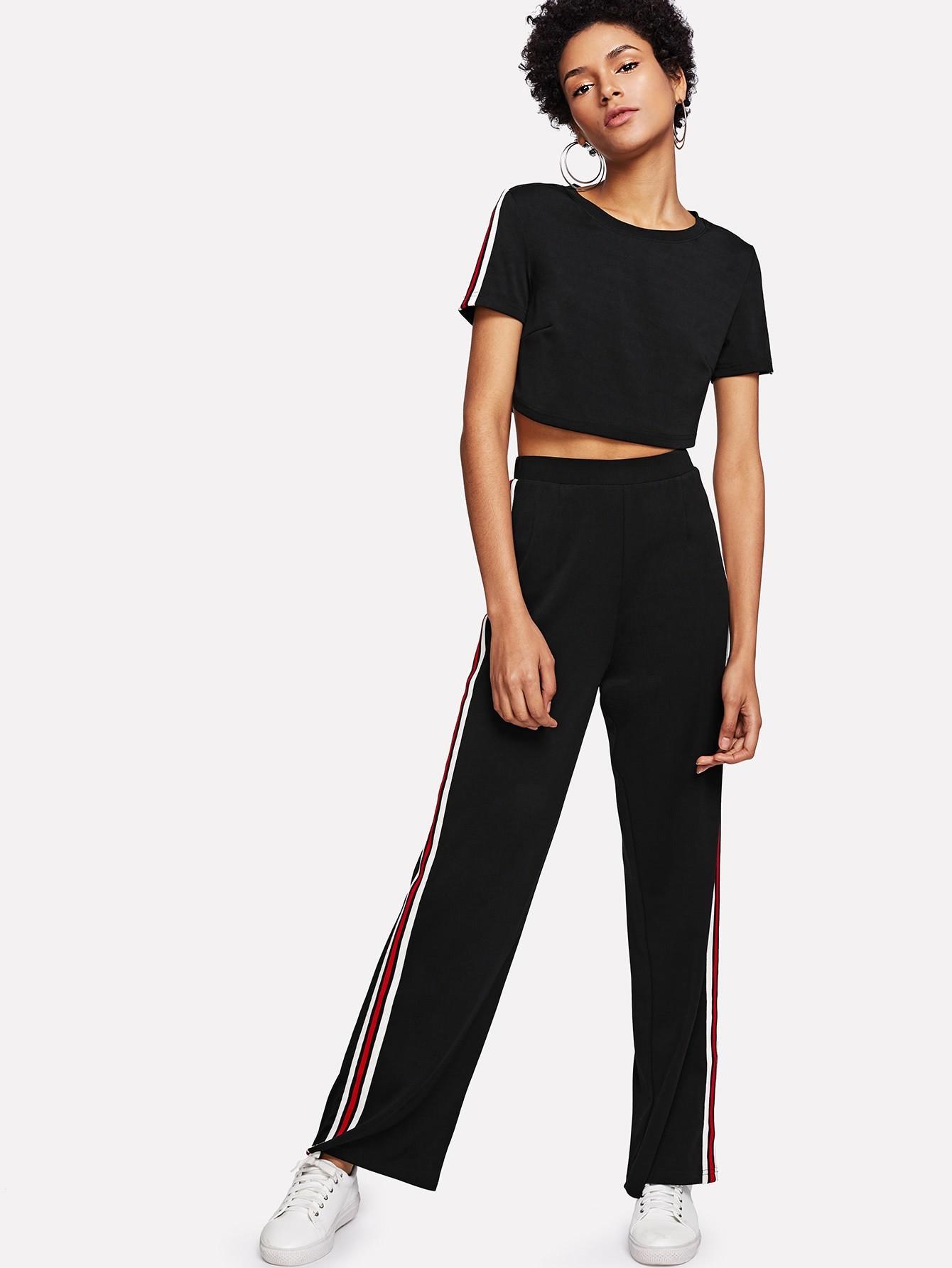 Striped Side Crop Top & Pants Set striped side crop top