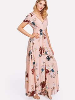Tassel Tied Button Up Front Floral Dress