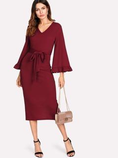 Flounce Sleeve Self Belted Split Back Dress