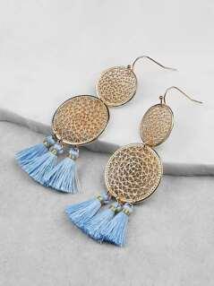 Circle and Tassel Dangling Earrings BLUE