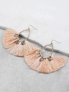 Fanned Tassel Gold Accent Earrings PEACH