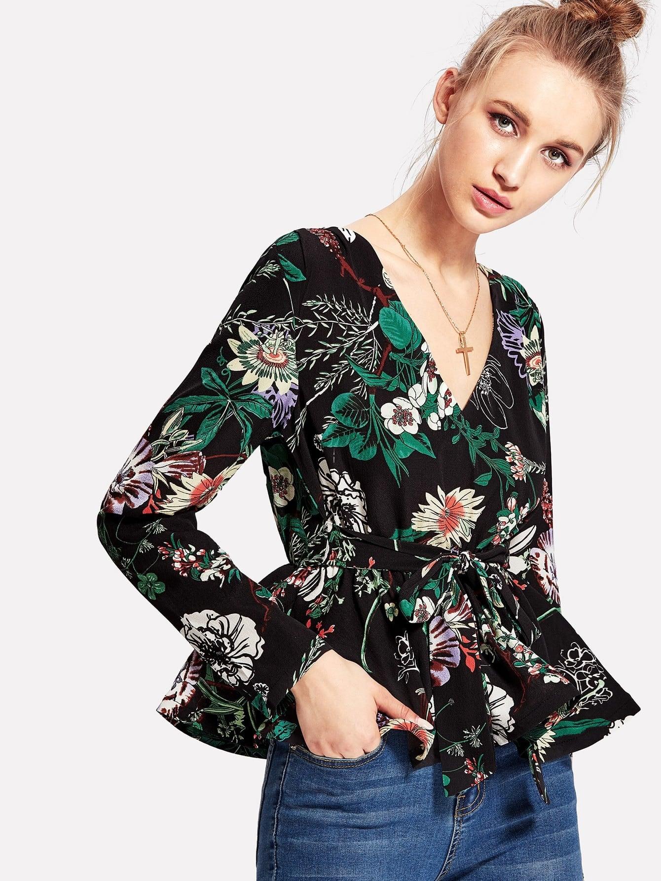 Купить Модная блуза с поясом и цветочным принтом, Lona, SheIn