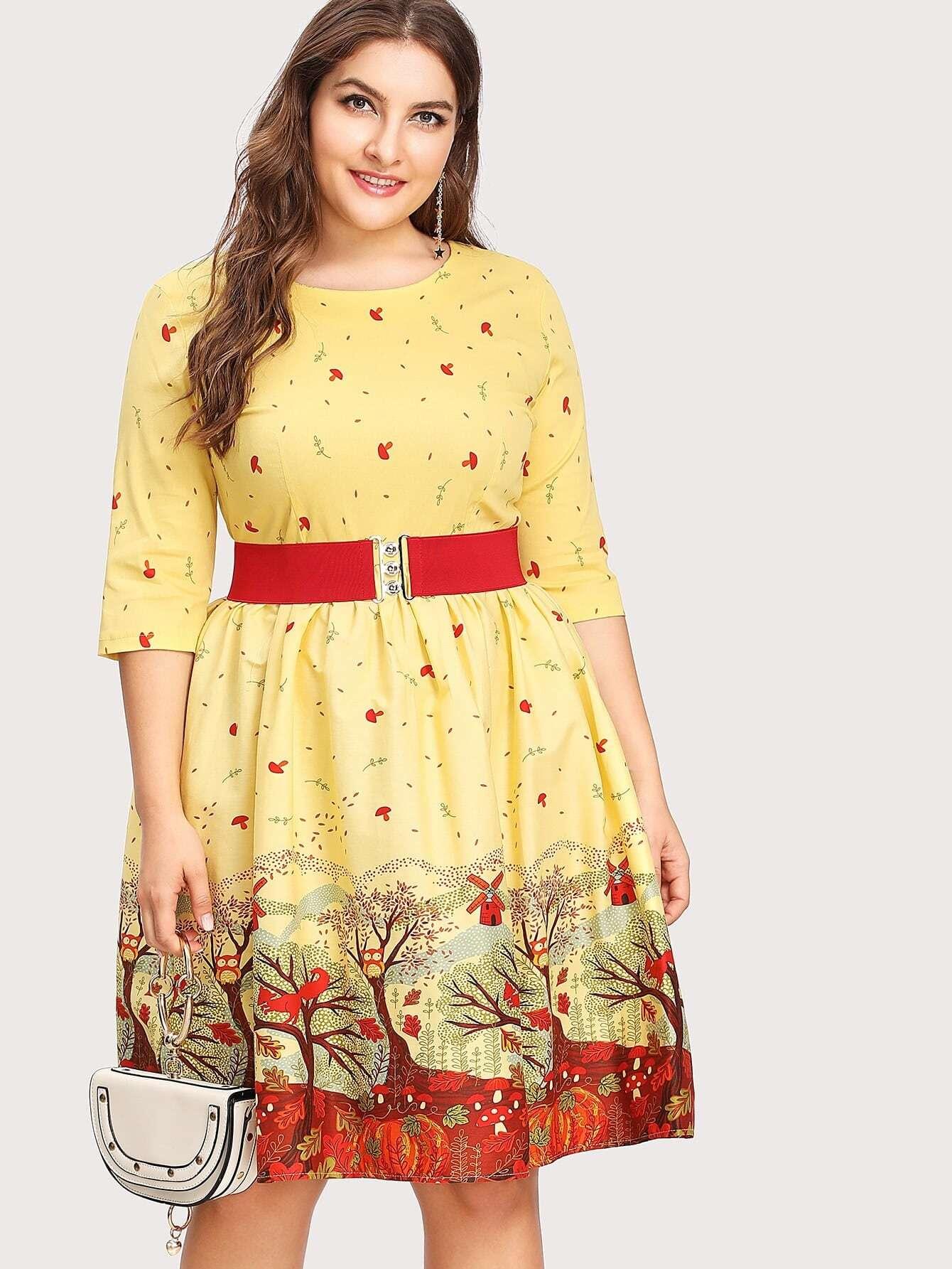 Купить Модное платье с принтом и поясом, Franziska, SheIn