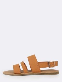 Three Strap Slingback Sandals NATURAL