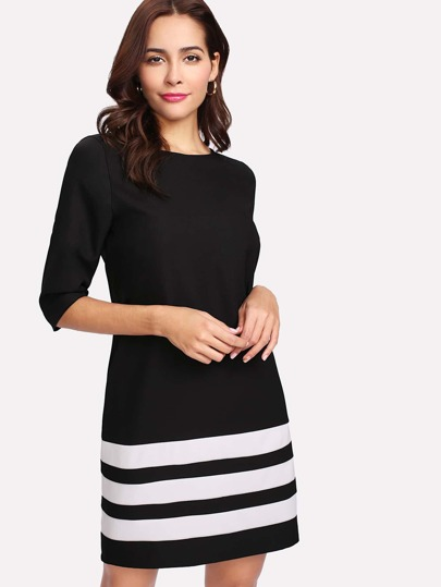 Contrast Striped Keyhole Back Dress