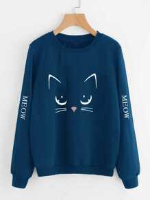 Cat Print Sweatshirt