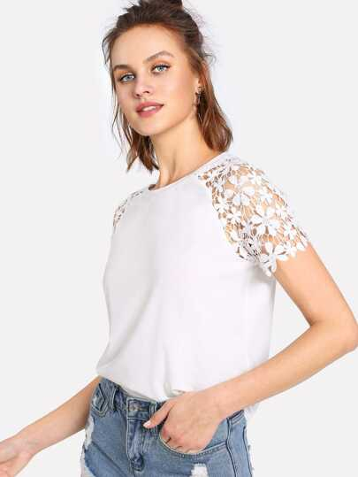 Floral Lace Raglan Sleeve T-shirt
