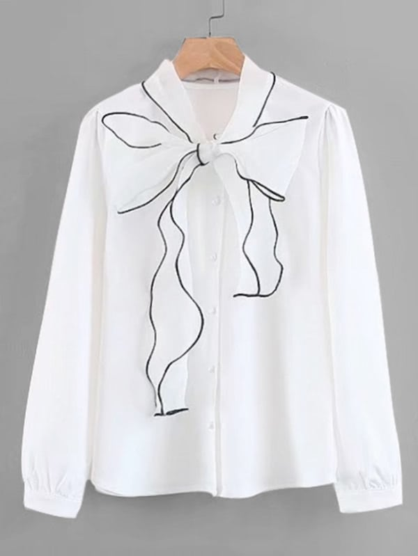 Contrast Piping Bow Tie Neck Blouse contrast embroidered mesh yoke bow tie striped blouse