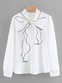Contrast Piping Bow Tie Neck Blouse