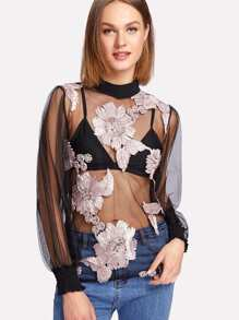 Flower Appliques Mesh Blouse With Bra