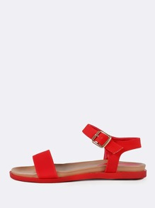 Single Band Ankle Strap Sandals RED