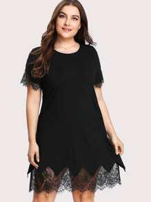 Scalloped Eyelash Lace Insert Dress