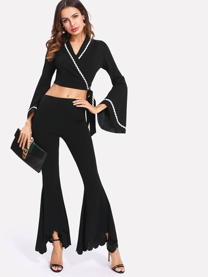 Wave Tape Accent Crop Wrap Top & Flare Pants Set