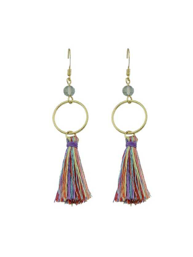 G-Colorful Round Circle Shape With Colorful Long Tassel Drop Earrings